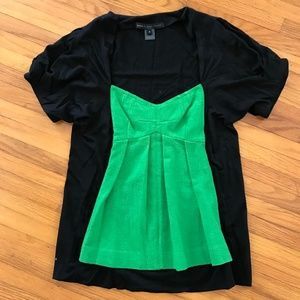 Marc by Marc Jacobs Black/Green Short Sleeve Top